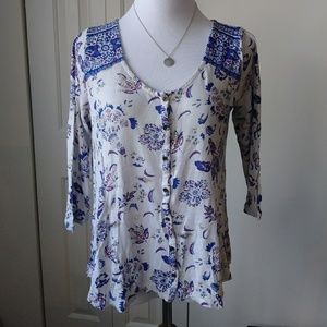 LUCKY🍀BRAND boho peasant flowy spring floral top